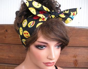 Womens Headband Dolly Bow Headband Summer Fashion Accessories Women Head scarf Bandana in Black with Yellow, Red Emoji print