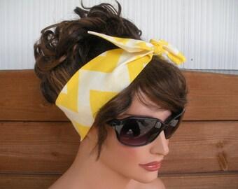 Womens Headband Dolly Bow Headband Summer Fashion Accessories Women Head scarf Bandana in Yellow, Off white Chevron