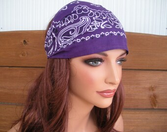 Womens Headband Fabric headband Summer Fashion Accessories Women Headscarf Yoga headband Bandana in Dark purple paisley - Choose color