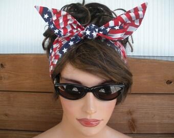 American Flag Headband 4th July Headband Summer Fashion Accessories Women Headband Head scarf Headwrap Dolly Bow Tie Up Headband