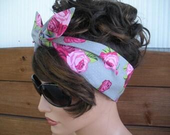 Womens Headband Dolly Bow Headband Summer Fashion Accessories Women Headscarf Tie Up Headband in Gray Polka dots with Pink Roses