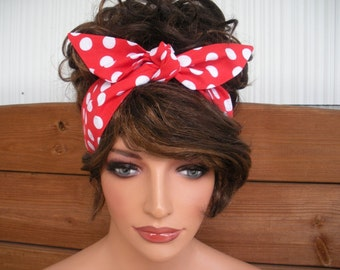 Womens Headband Dolly Bow Tie Up Headband Retro Summer Fashion Accessories Women Headscarf in Red with white polka dot