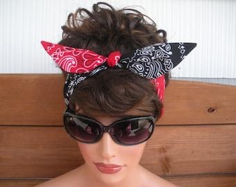 Womens Headband Dolly Bow Headband Summer Fashion Accessories Women Headscarf Tie Up Headband in Red and Black Bandana