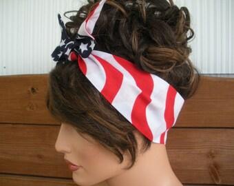 American Flag Headband 4th July Headband Summer Fashion Accessories Women Head scarf Dolly Bow Tie up headband USA Bandana