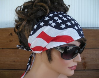 American Flag Headband 4th July Headband Accessories Women Head scarf Summer Headband Yoga Headband Bandana