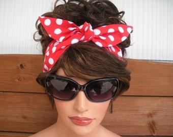 Womens Headband Dolly Bow Headband Fashion Accessories Women Headscarf Retro Headband Tie up Headband in Red Polka dot