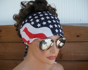 American Flag Headband 4th of July Headband Summer Fashion Accessories Women Head scarf Headband Bandana by creationsbyellyn