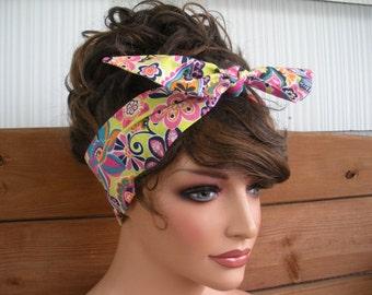 Womens Headband Dolly Bow Headband Summer Fashion Fashion Accessories Women Headscarf Tie Up Headband with Mulitcolor Paisley print