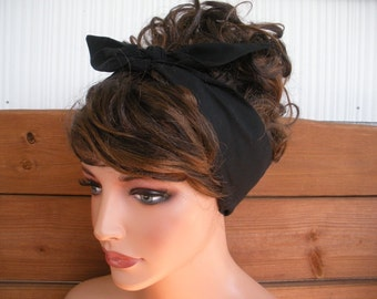 Womens Headband Dolly Bow Headband Retro Summer Fashion Accessories Women Head scarf Tie up headband in Black - choose color