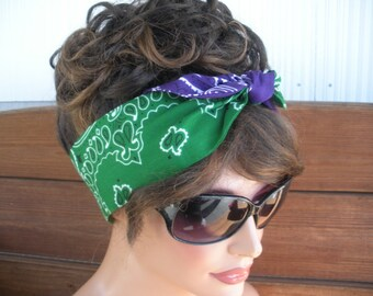 Womens Headband Dolly Bow Headband Retro Summer Fashion Accessories Women Head scarf Headwrap in Purple, Green Paisley Bandana
