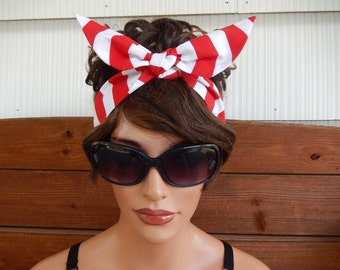 Womens Headband Dolly Bow Headband Summer Fashion Accessories Women Head scarf in Red and White Stripes Print - Choose color