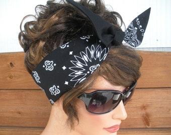 Womens Headband Dolly Bow Headband Summer Fashion Accessories Women Head scarf Bandana in Solid Black, Black with Paisley