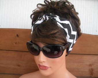 Womens Headband Dolly Bow Headband Retro Headband Summer Fashion Accessories Women Headscarf Headwrap in Black, White Chevron
