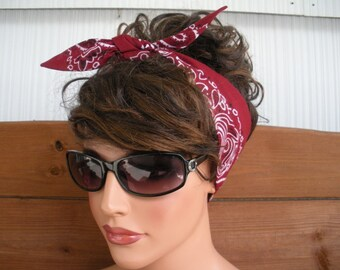 Womens Headband Dolly Bow Headband Retro Summer Fashion Accessories Women Head scarf Bandana in Burgundy - Choose color