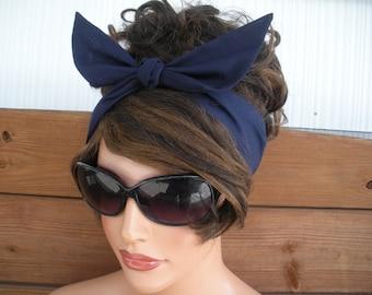 Womens Headband Dolly Bow Headband Retro Summer Fashion Accessories Women Head scarf Tie Up Bandana in Navy blue - Choose color