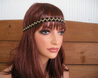 Womens Headband Boho Headband Hippie Headband Headpiece Fashion Accessories Women Forehead Headband in Black, Gold Braided trim