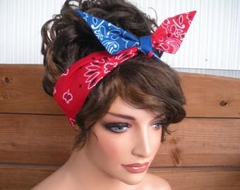 Fabric Headband Dolly Bow Headband Summer Fashion Accessories Women Head scarf Tie up headband in Royal Blue, Red Bandana