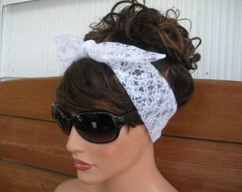 Womens Headband Lace Dolly Bow Headband Retro Fashion Accessories Women Tie Up Headband Lace Headscarf in White  - Choose color