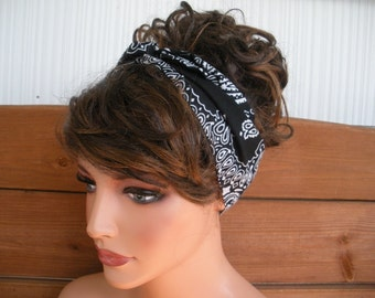 Womens Headband Dolly Bow Headband Retro Summer Fashion Accessories Women Head scarf Tie Up Headband Black Bandana - Choose color