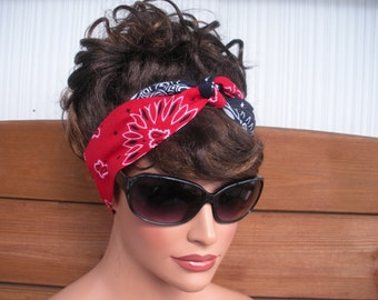 Women Fabric Headband Womens Dolly Bow Headband Fashion Accessories Women Head scarf Bandana in Red, Navy Blue with paisley print
