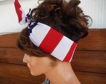 American Flag Headband July 4th Headband Summr Fashion Accessories Women Head scarf Headwrap Dolly Bow Tie Up Headband Bandana