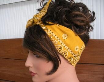 Womens Headband Dolly Bow Headband Retro Fashion Accessories Women Headscarf Tie Up Headband Bandana in Gold - Choose color