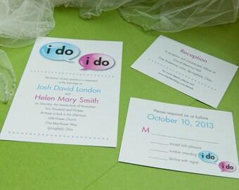 Speech Bubbles: i do - Printable Wedding Invitation, DIY Print-at-home Set
