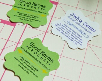 Set of 20 CUSTOM Shop Care Instruction Tag - Flourish Square Die Cuts