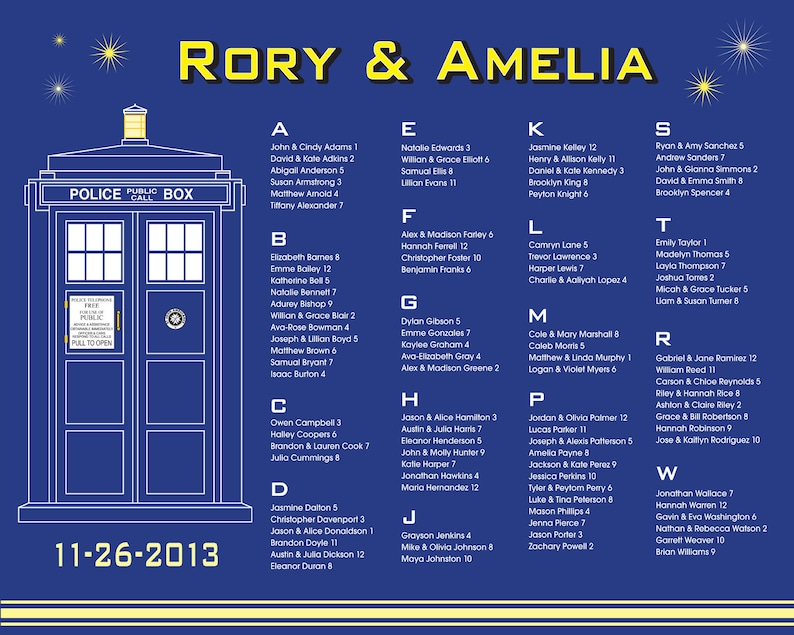 image relating to Tardis Printable known as Medical professional Who TARDIS - Printable Customized Marriage Seating Chart