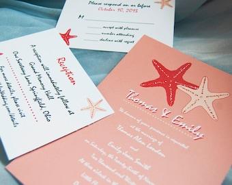 Ocean, Starfish - Printable Wedding Invitation, DIY Print-at-home Set