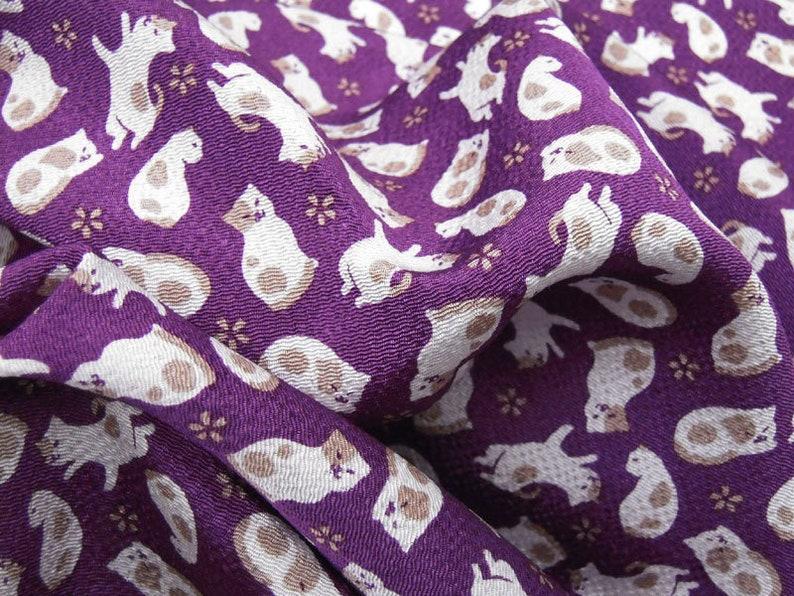 Japanese Fabric Rayon Chirimen Crepe Cat Pattern