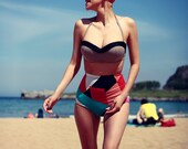 Bold geometric high waisted bikini shorts knicker shorts swimsuit