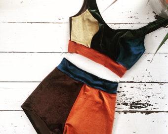 Velvet shorts and velvet bra set in block colour