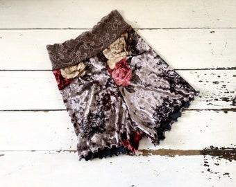 Rose floral velvet shorts panties knickers