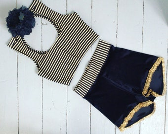 Striped top and velvet shorts circus costume