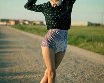 Silk velvet high waisted shorts