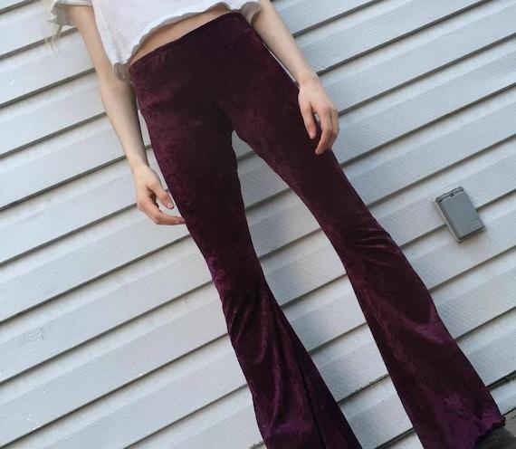 Velvet bell bottom hippy flares boho festival pants