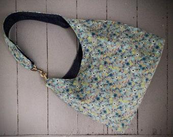 Ditsy print floral needle cord boho shoulder bag