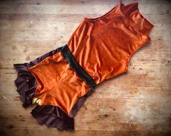 Velvet block colour ruffle shorts with crop top set trapeze costume festival