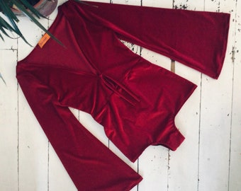 Velvet bodysuit wide sleeve Halloween 70s top