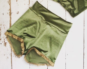 Velvet high waist gold trim shorts trapeze silks highwire
