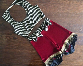 Vintage circus velvet shorts striped top