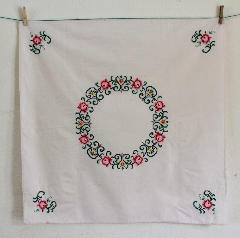 Cross-stitched Floral 1960s Vintage Tablecloth