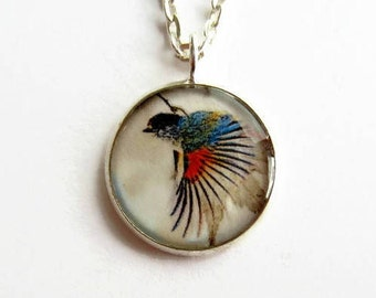Bluebird Necklace, Blue Bird Picture Pendant, Nature Jewelry, Wearable Art, Delicate Jewellery Gift for Her, UK Seller