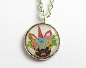 Unicorn Pug Necklace - Unipug Pendant - Pug Lover Gift - Resin Jewelry