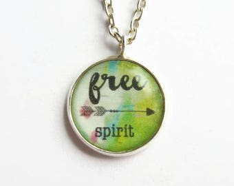 Free Spirit Necklace - Wanderlust Necklace - Boho Necklace - World Traveller Gift - Bohemian Jewelry - Adventure Jewellery - Quote Pendant