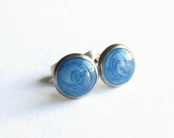 Tiny Blue Stud Earrings - Petite Studs - Spring Jewellery - Post Earrings - Summer Jewelry - Hypoallergenic Surgical Steel - 8mm