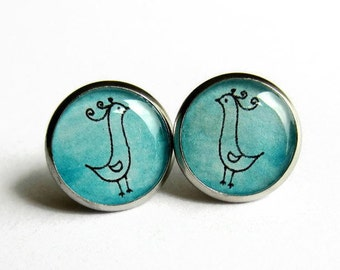 Turquoise Blue Bird Earrings, Bird Stud Earrings, Bird Jewelry, Resin Art, Quirky Gift for Her. Bird Lover Gift, Hypoallergenic