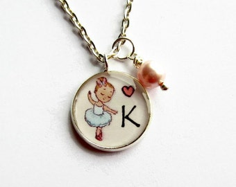 Personalised Ballerina Necklace - Initial Letter Ballet Dancer Necklace - Dance Necklace - Customised Gift for Girl