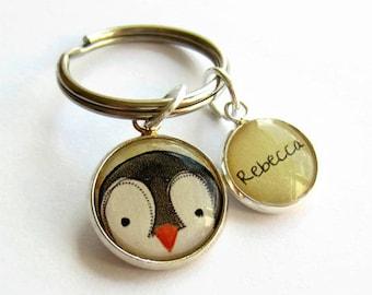 Personalised Penguin Keyring - Penguin Keychain -  Cute Penguin Keyring - Custom Name Keychain - Name Key Chain - Custom Gift - Penguin Gift